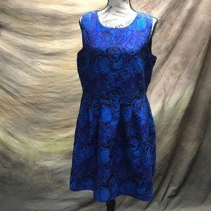 Blue and Black Flower Dress/Size L